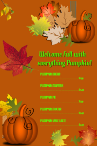 Fall Menu Items Template
