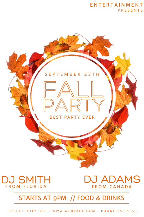 Fall Party Flyer Template Poster