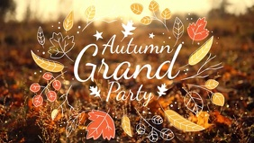 Fall Party Invitation Facebook Cover Video Template