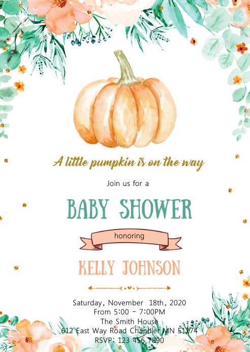 Fall pumpkin baby shower invitation A6 template