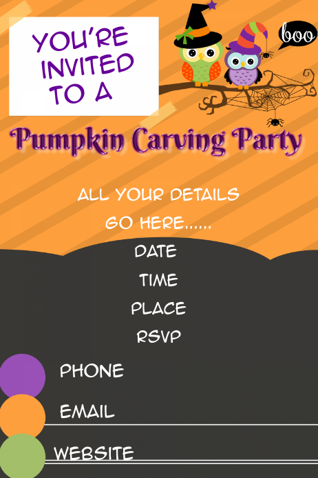 Fall Pumpkin Carving Party Invitation Halloween Template Poster