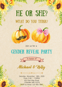 Fall Pumpkin gender reveal party invitation