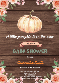 Fall pumpkin shower invitation A6 template