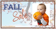 Fall sale blowing leaf background Facebook Shared Image template