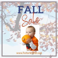 Fall sale blowing leaf background