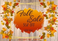 Fall Sale- Dark wood Postcard template