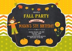 Fall scarecrow birthday party invitation