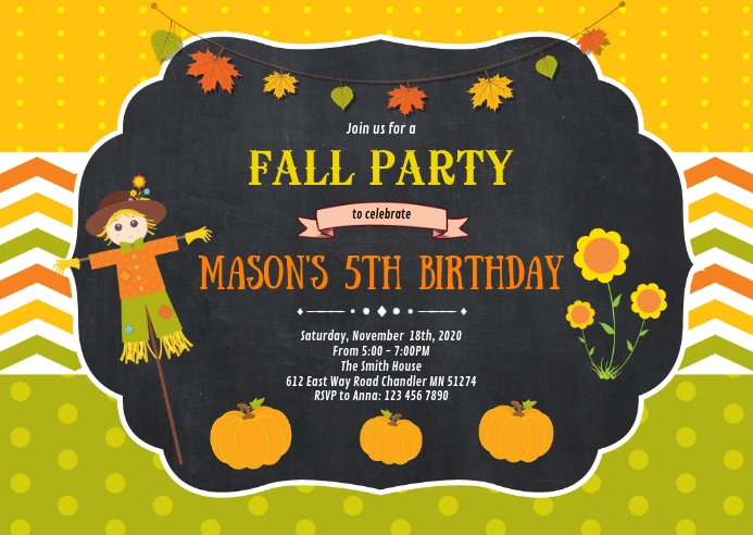 Fall scarecrow birthday party invitation A6 template