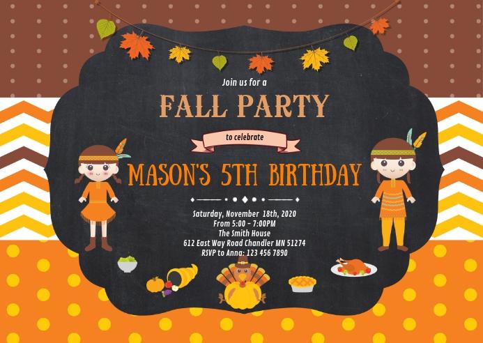 Fall thanksgiving birthday party invitation
