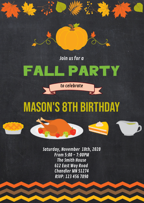Fall thanksgiving birthday party invitation