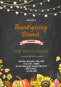 Fall thanksgiving dinner party invitation A6 template