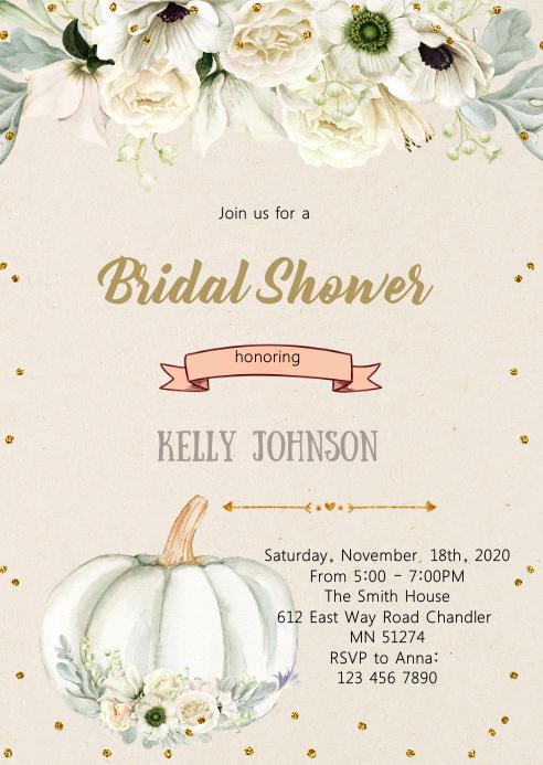 Fall white pumpkin bridal shower invitation A6 template