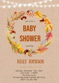 Fall wreath shower party invitation