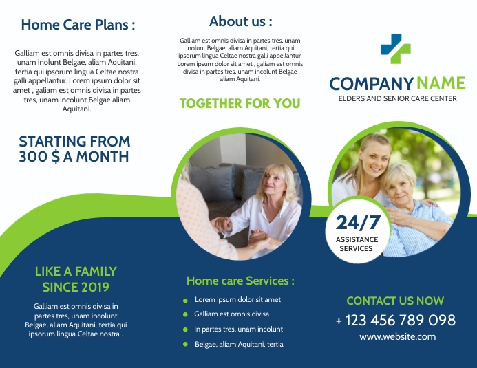 family and elder and senior care trifold broc Flyer (US Letter) template