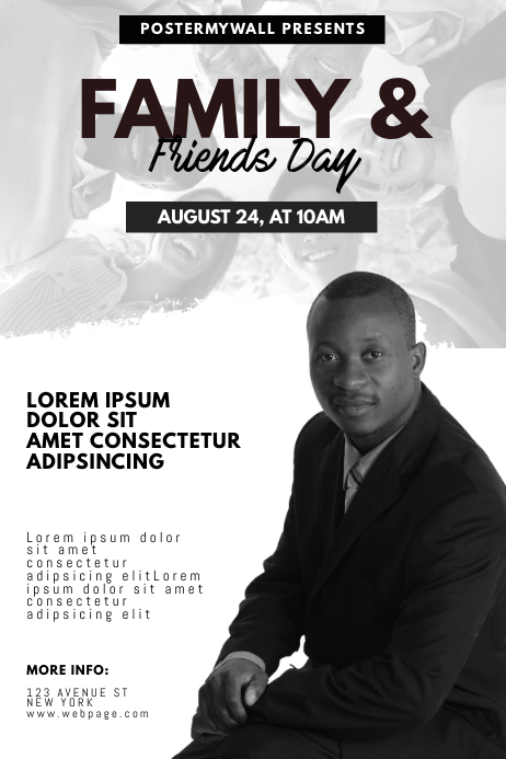 Family and Friends Day Church Event Flyer Poster template
