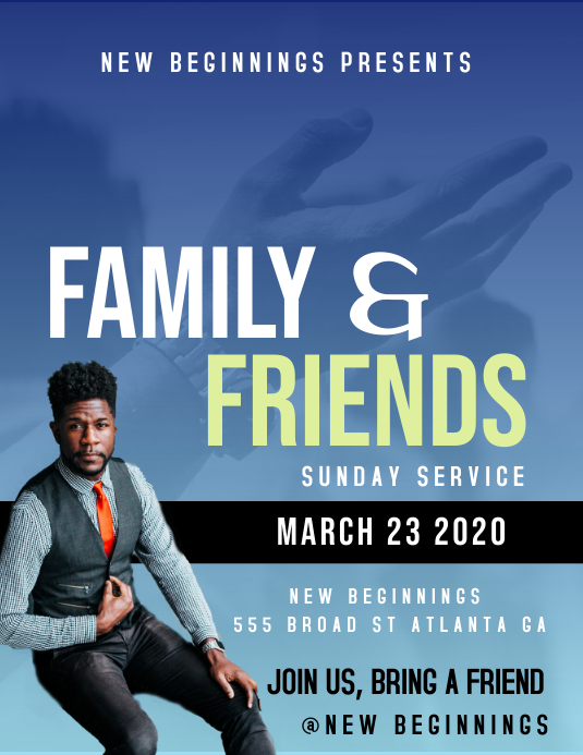 FAMILY AND FRIENDS Ulotka (US Letter) template