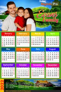 Family Calendar 2021 Poster template