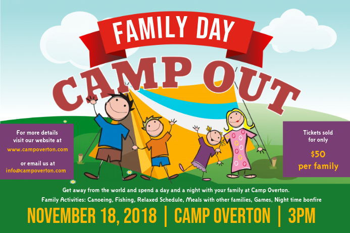 Family Camping Registration Poster with Illustrations
