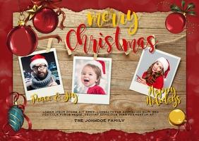 Family Christmas Card Photo Template Poskaart