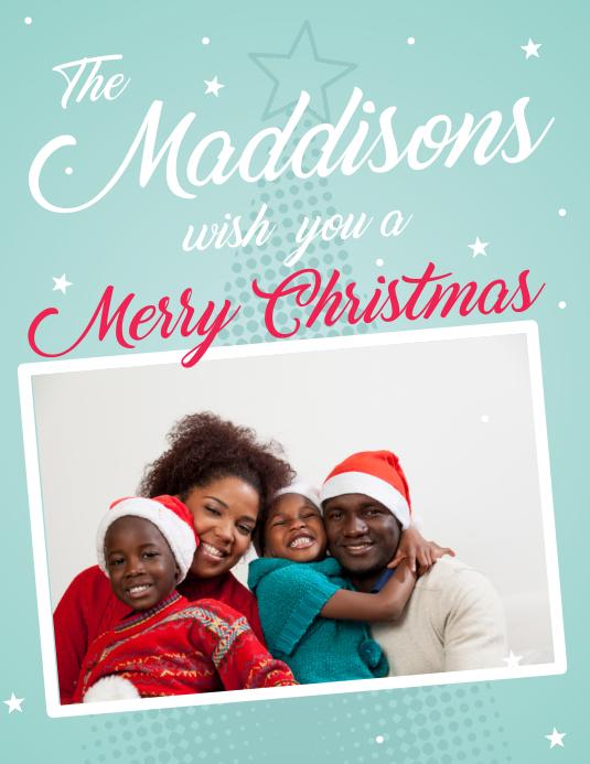 Family Christmas Greeting Card Flyer Pamflet (Letter AS) template
