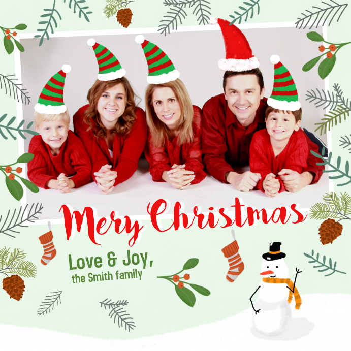 Family Christmas Greeting Instagram Post template