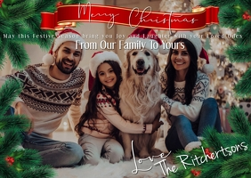 Family Christmas Postcard Template Poskaart