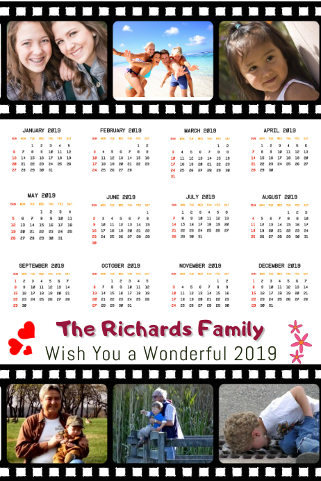 Family Collage Calendar 2019 Template Postermywall