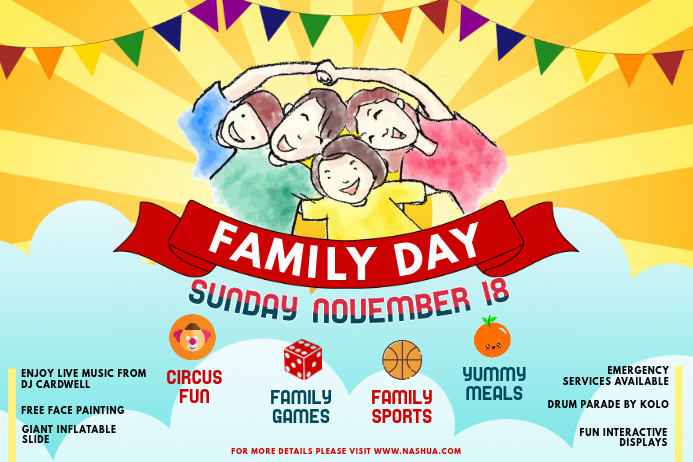 Family Community Day Event and Fair Poster Template Póster