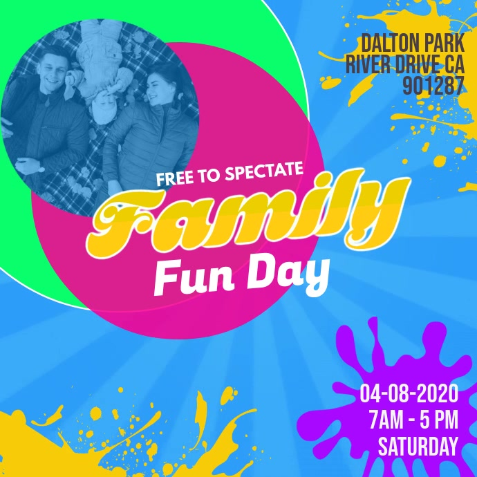 Family Day Park Event Video Invitation Template