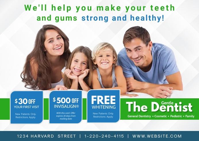 Family Dental Care Postcard template