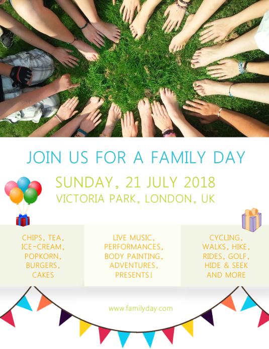 Family Fun Day Event Custom Flyer Template Volante (Carta US)