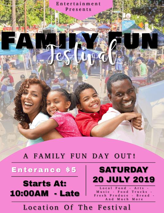 Family Fun Day Event Flyer Template 传单(美国信函)