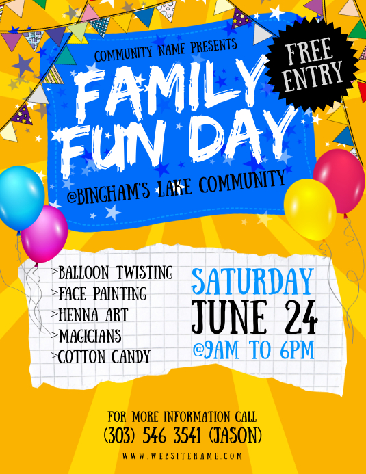 family fun day flyer template postermywall