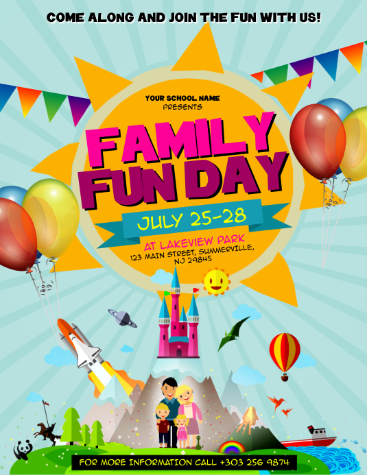family fun day flyer template postermywall. Black Bedroom Furniture Sets. Home Design Ideas