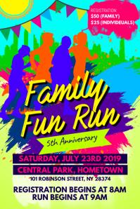 Family Fun Run Flyer Banner 4 × 6 Fuß template
