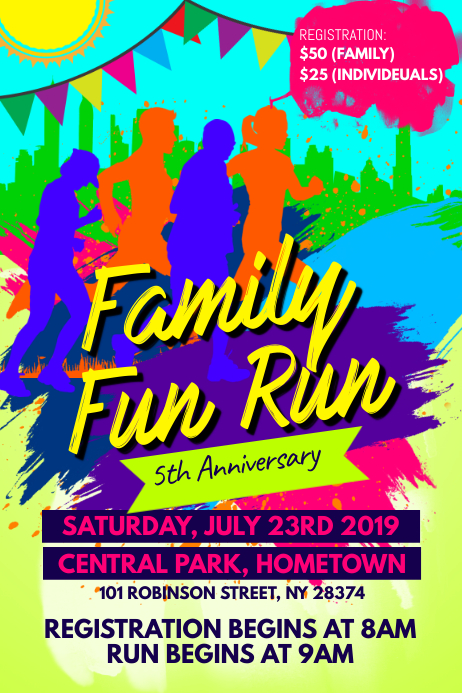 family fun run flyer template postermywall. Black Bedroom Furniture Sets. Home Design Ideas