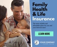 Family Health and Life Insurance facebook ad Rettangolo grande template