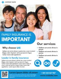 family insurance flyer template design advert