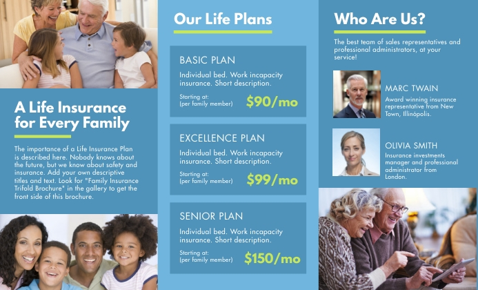 Family Insurance Trifold Brochure Back US na Legal template