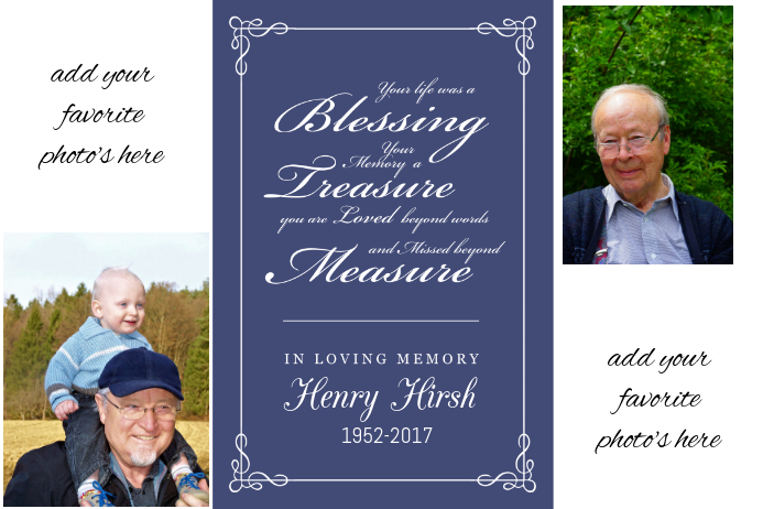 Family Memory Funeral Memorial Keepsake Poster Collage