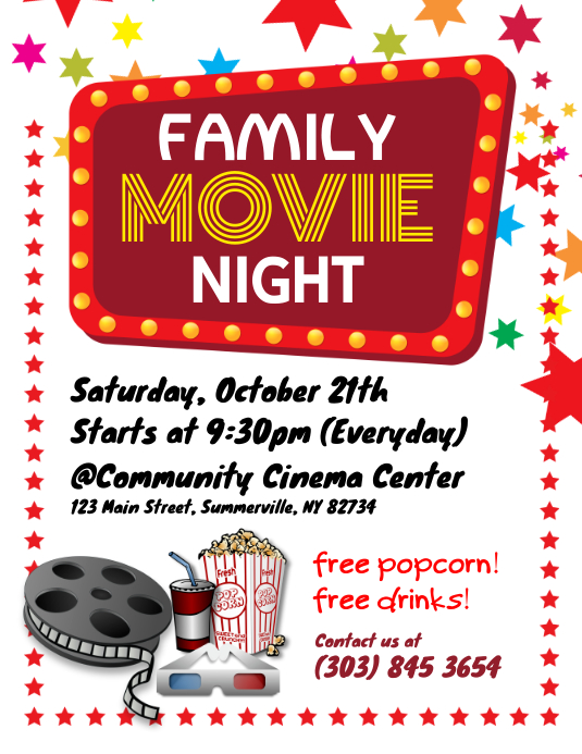 Family Movie Night Flyer Template Postermywall