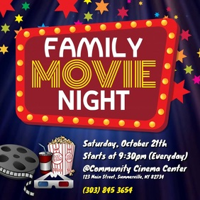 Family Movie Night Video Cuadrado (1:1) template