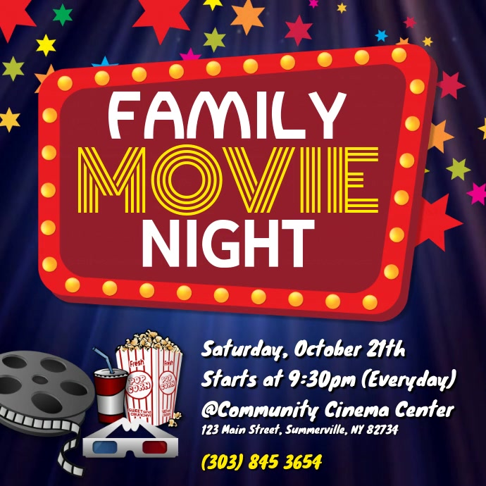 Family Movie Night Video Persegi (1:1) template