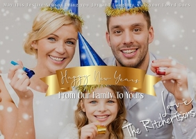 Family New Years Postcard Template