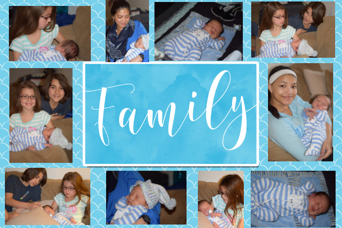 Family Photo Collage bright turquoise poster flyer template โปสเตอร์