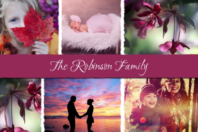 Family Photo Collage Card Label template
