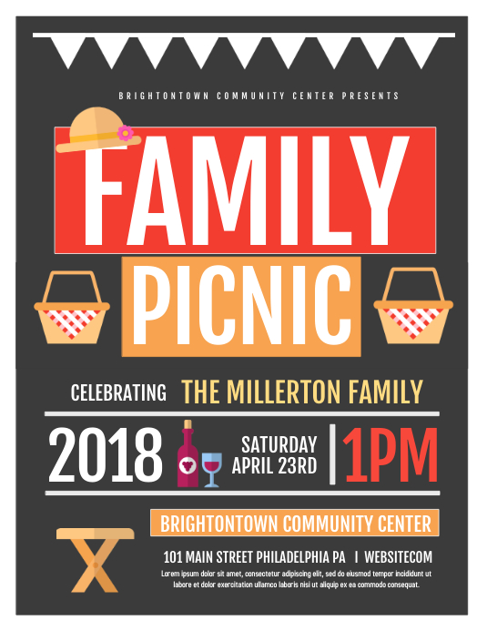 Family Picnic Flyer (Letter pang-US) template
