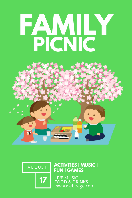 family picnic flyer template postermywall