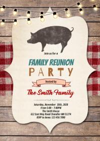 Family reunion bbq invite invitation A6 template