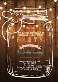 Family reunion word invite invitation A6 template